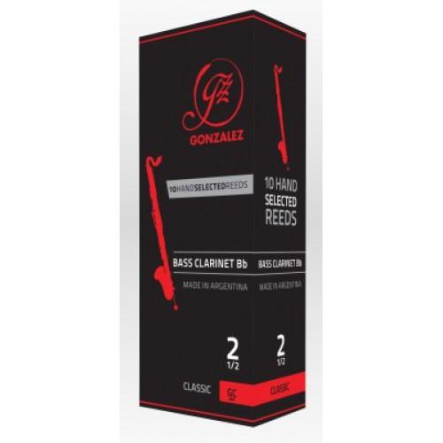 GONZALEZ Bb Bass Clarinet Reeds Str 3.0. Pack of 5
